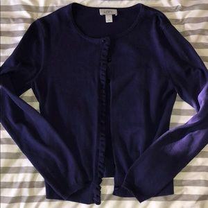 Purple cardigan with ruffle detail